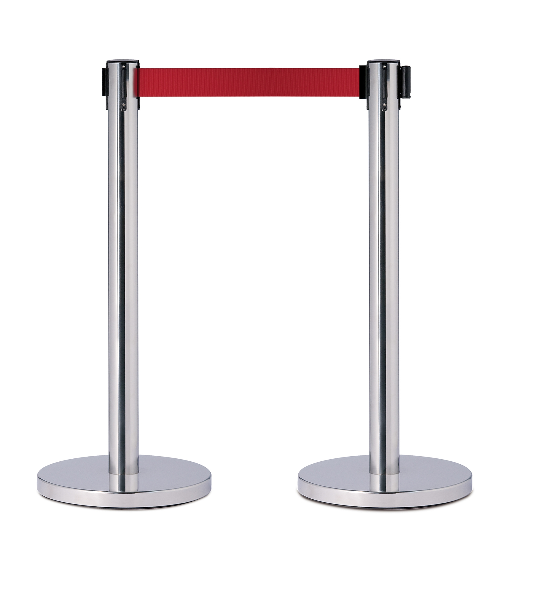 barriere extensible colonne inox ruban rouge