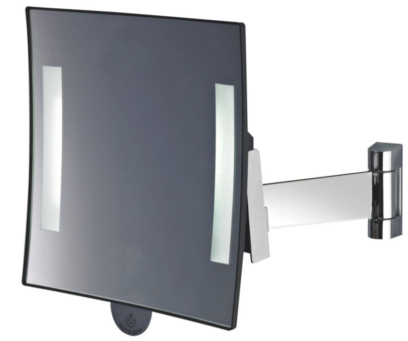 Miroir grossissant lumineux carré JVD Galaxy chrome