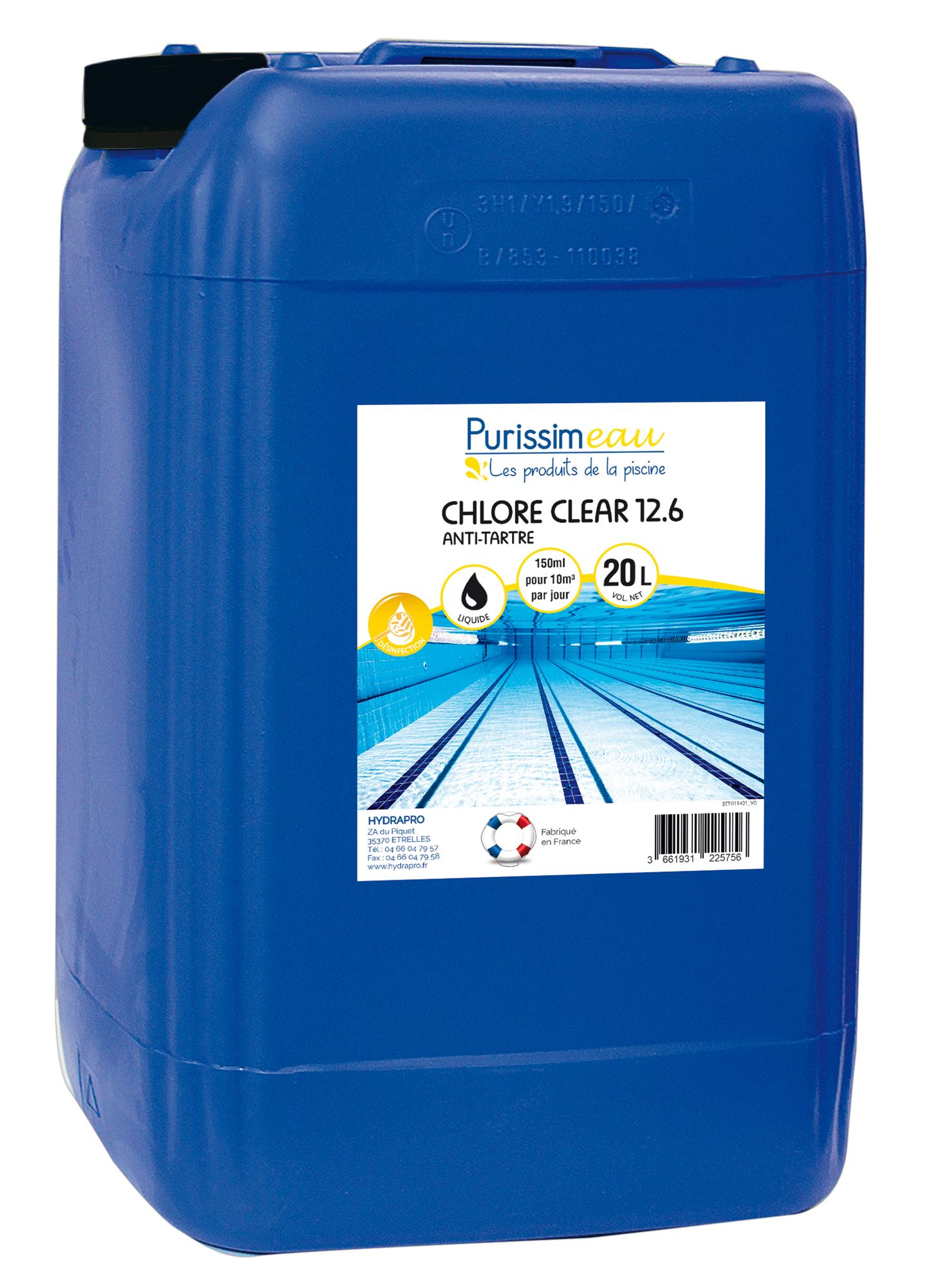 Chlore piscine liquide professionnel 48 piscine bidon 23 kg for Chlore piscine