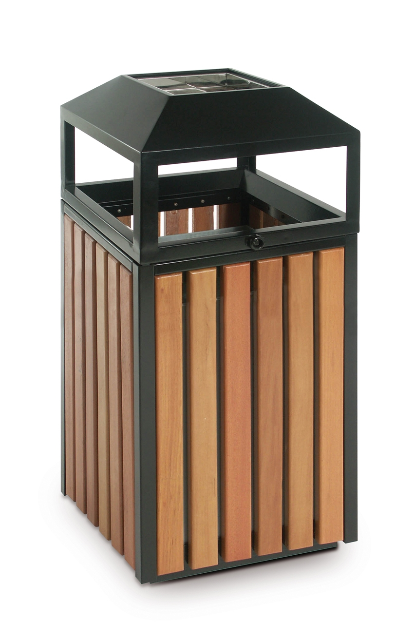 Poubelle ext rieure bois stilcasa ecl11 90 l for Poubelle exterieur plastique