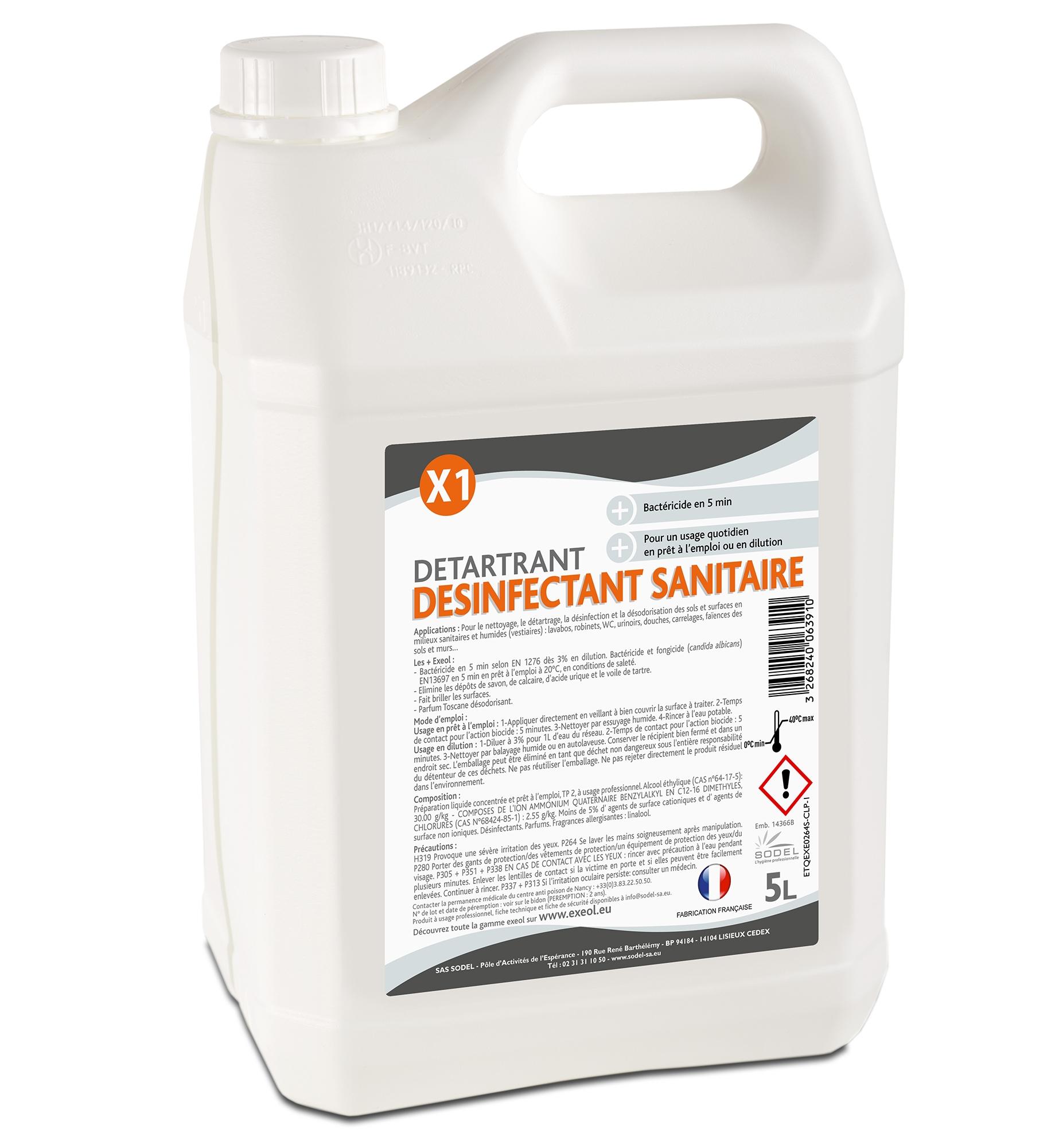 D tartrant d sinfectant sanitaire 5 l for Produit de lustrage professionnel