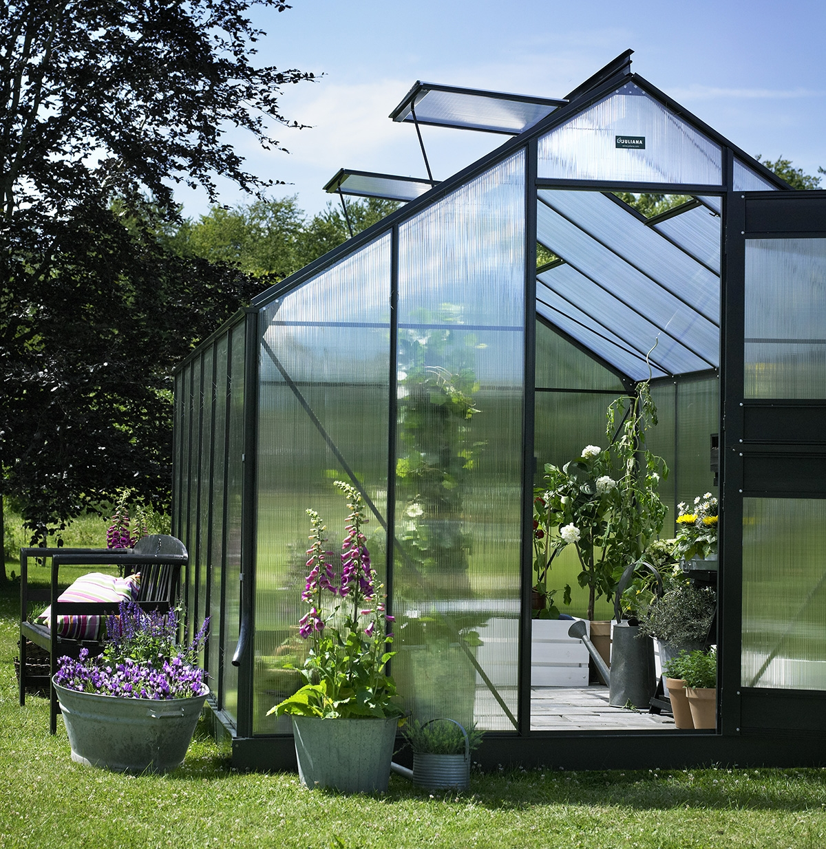 Serre de jardin juliana compact plus alu 8 3m2 polycarbonate - Serre polycarbonate 9m2 ...