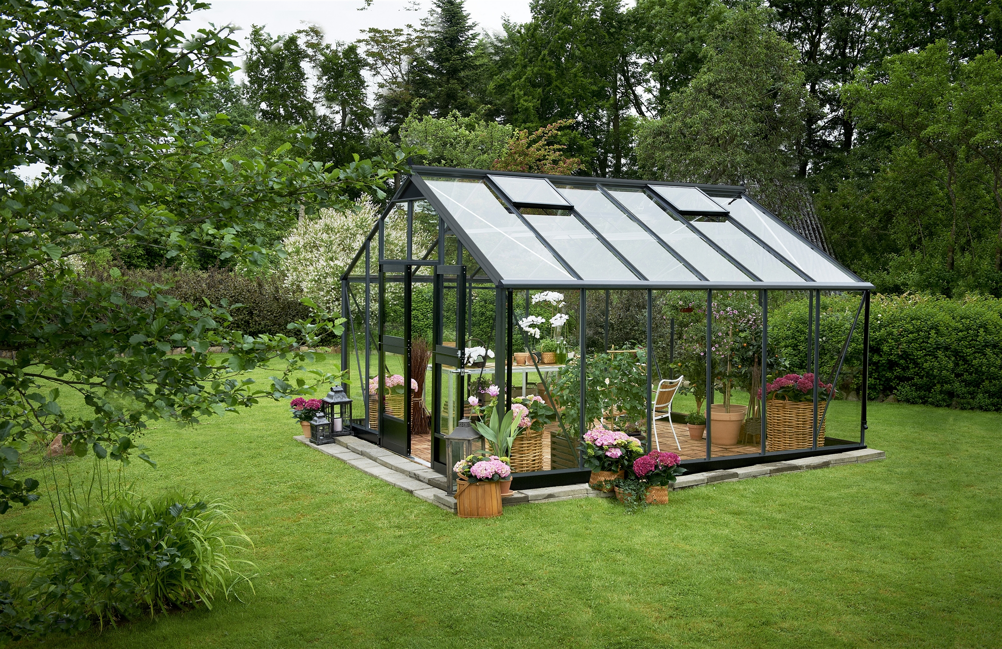 Serre de jardin juliana gartner 16 1m2 anthracite verre tremp for Jardin 1m2