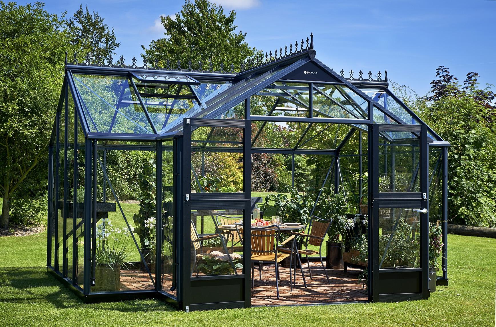 Serre de jardin juliana orangerie 15 2m2 anthracite for Jardin orangerie