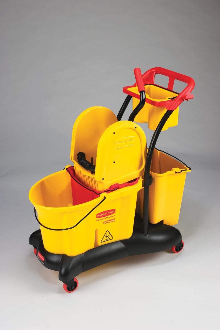 Chariot de menage wavebrake rubbermaid jaune avec presse for Chariot de menage rubbermaid