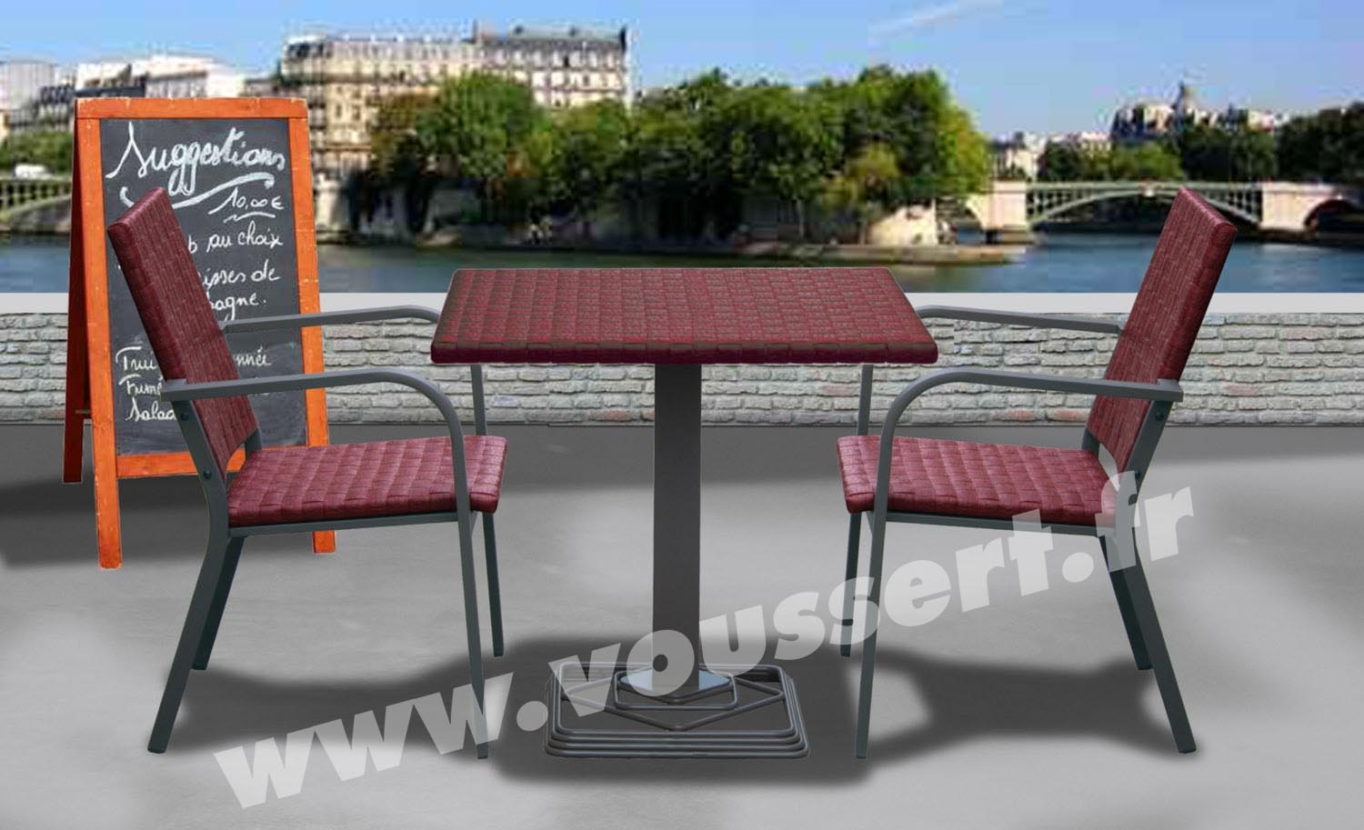 Table bistrot carree aluminium resine tressee bordeaux kaiman 80x80 - Table jardin bricorama bordeaux ...