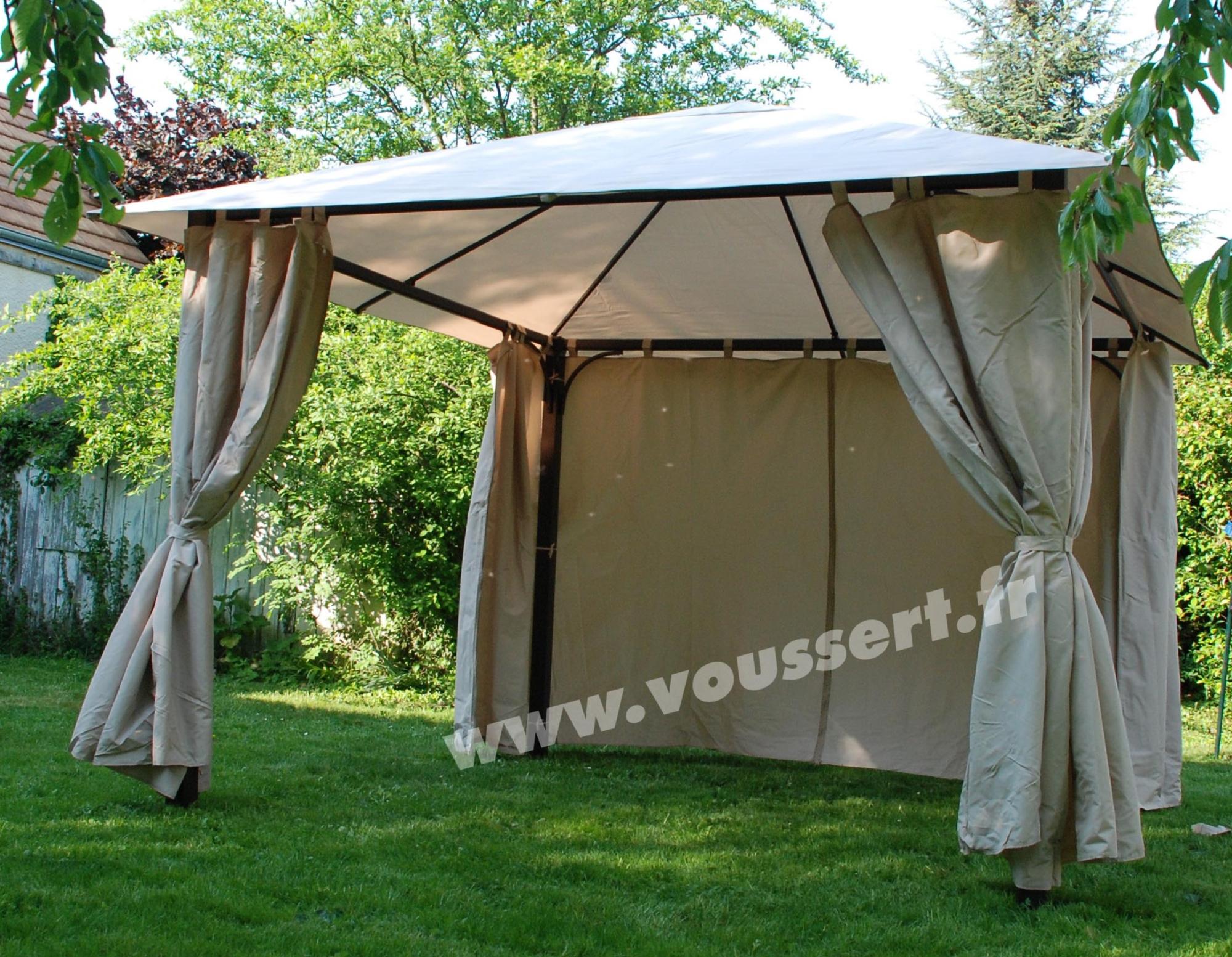 Tonnelle de jardin 3x3 m rideaux atlas constantinople ecru for Rideaux pour tonnelle de jardin
