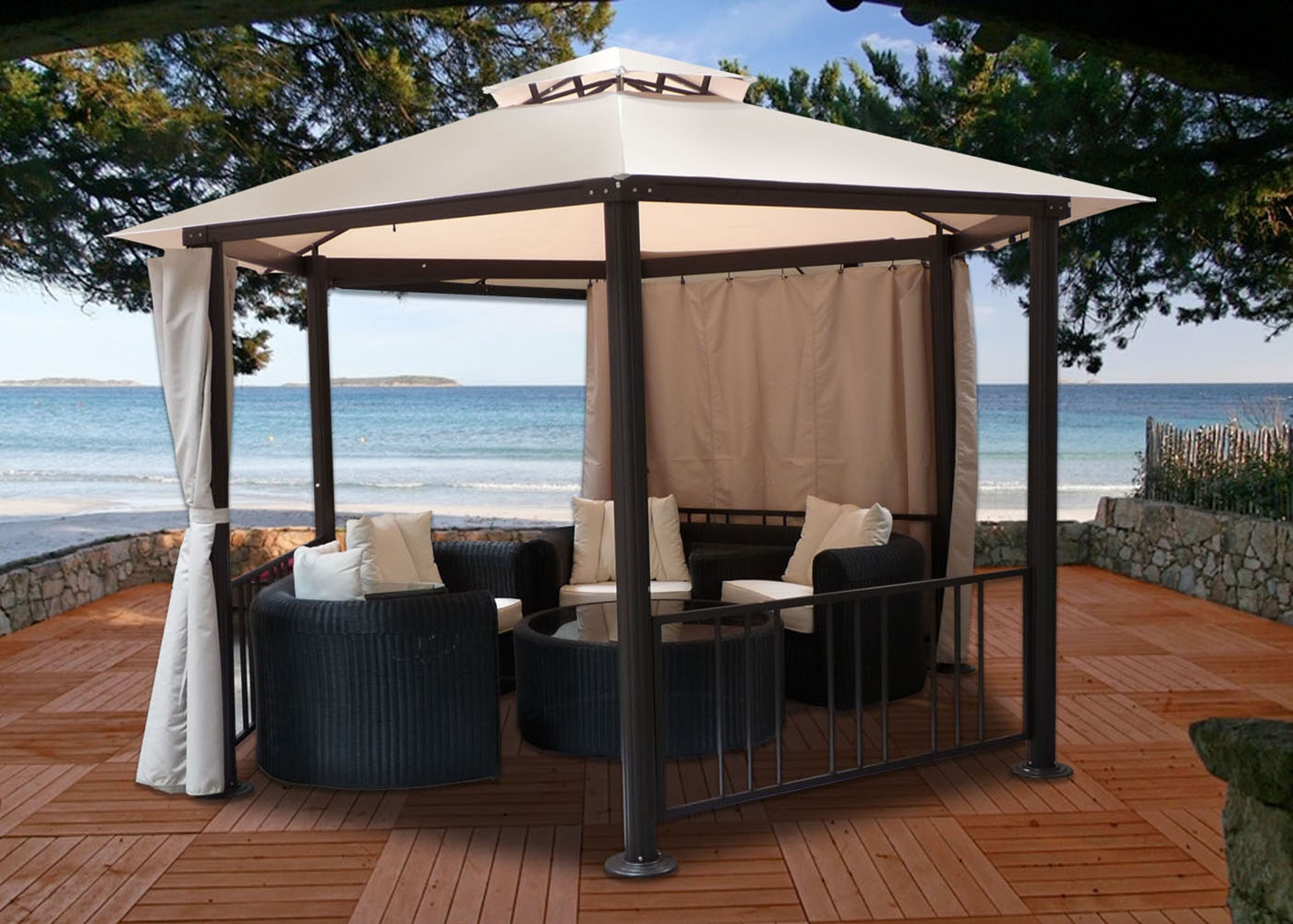 tonnelle hexagonale kiosque de jardin diam tre 3 5 m aluminium. Black Bedroom Furniture Sets. Home Design Ideas