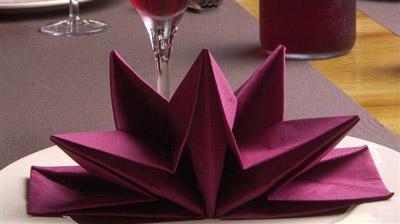 Serviette papier prepliee pliage etoile bordeaux etui de 12 - Pliage de serviette en papier noel ...