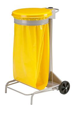 Poubelle de cuisine collecroule HACCP couvercle jaune 110 litres
