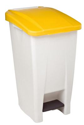 Poubelle de cuisine rossignol 60 litres haccp couvercle jaune - Poubelle cuisine 100 litres ...