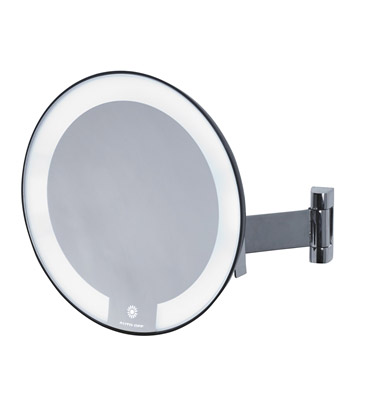 Miroir grossissant lumineux rond jvd cosmos noir bras plat for Miroir rond grossissant
