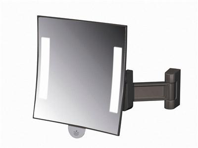 Miroir grossissant lumineux carr jvd galaxy noir for Miroir carre noir