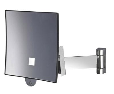 Miroir grossissant lumineux eclips carr jvd noir for Miroir carre noir