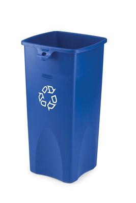 conteneur rubbermaid tri selectif carr bleu logo recyclage 87 l. Black Bedroom Furniture Sets. Home Design Ideas