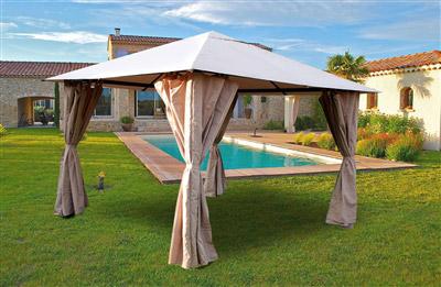 tonnelle de jardin 3x3 m avec rideaux atlas coloris taupe. Black Bedroom Furniture Sets. Home Design Ideas