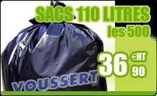 Sac poubelle 110 litres gris haute densité colis de 500