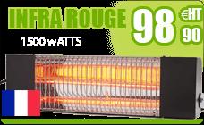 Chauffage infrarouge terrasse BRC 1500 W noir